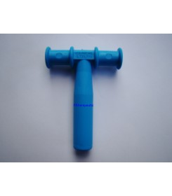 Gryzak logopedyczny niebieski w kształcie litery T